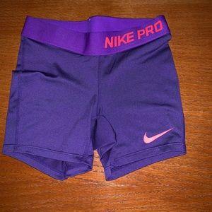 Euc Nike pro purple dri fit compression shorts